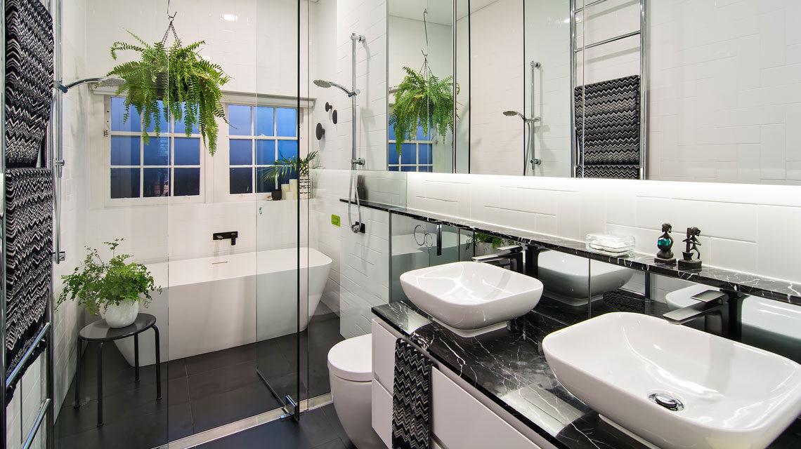 Stunning Black White Bathroom Reno Kcreative Interiors Bondi